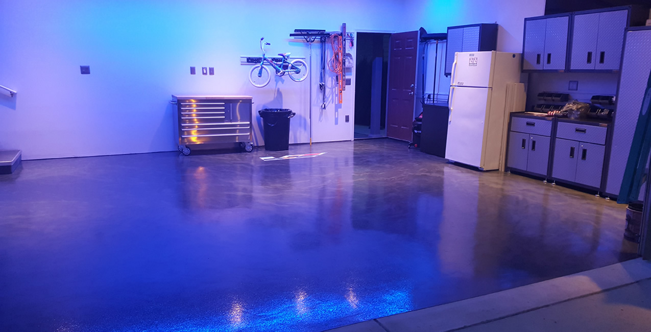 Residential flooring epoxy stained polished concrete for Decorative concrete floors residential